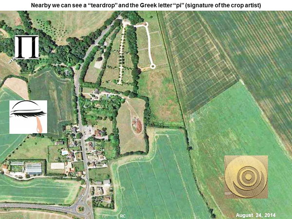 Crop Circle at Ironwell Lane, nr Stroud Green, Essex, United Kingdom. Reported 24th August  2014 Ironwell-moon2