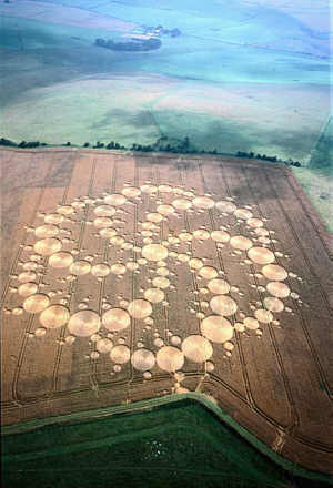 Crop Circle at Milk Hill in Wiltshire above the White Horse on 17 August 2001