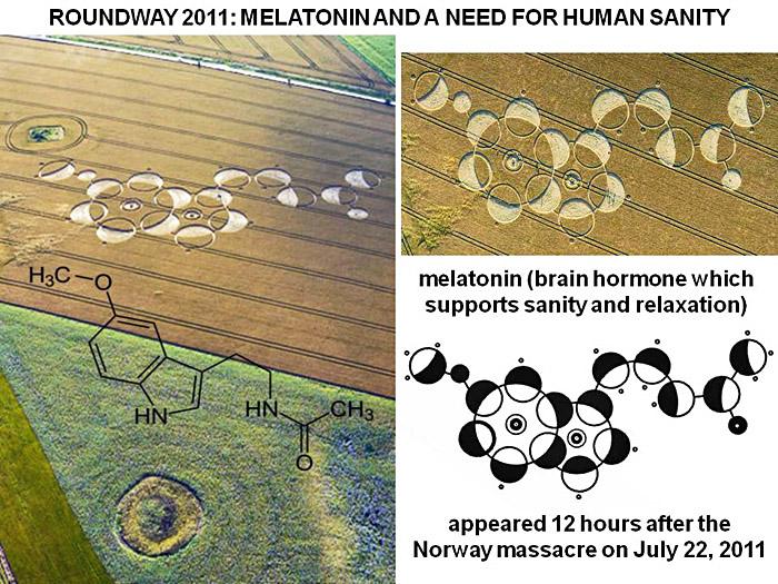 crop circles depicting the melatonin brain hormone